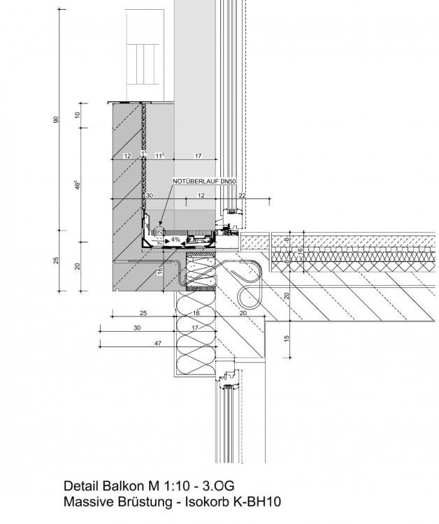 Extrem Detail Balkon - Entwässerung bei Platznot ZH24
