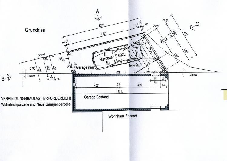 Bauzeichnung Garage spezielle garage mauern