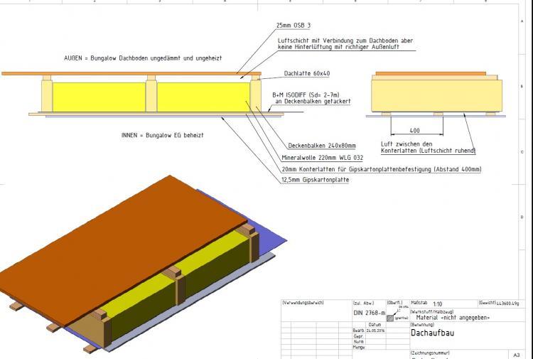 Bungalow Decke zum unbeheizten Dachboden und oben OSB rauflegen