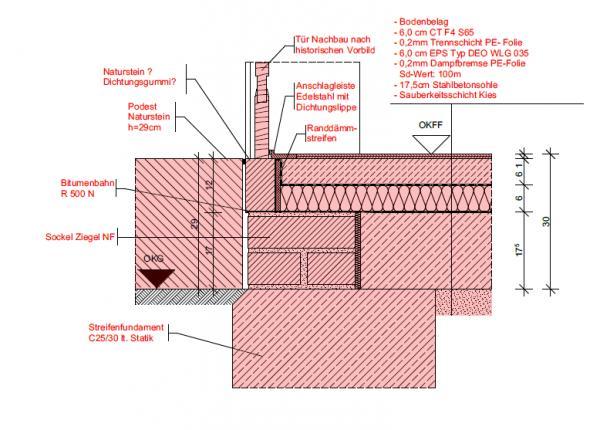 Haustüranschluss detail  Türanschluss Detail