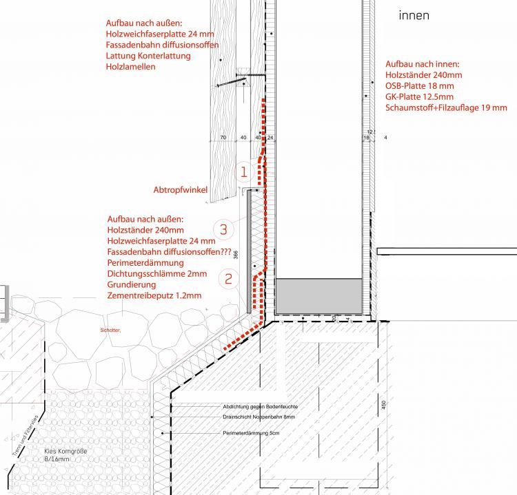 Holzrahmenbau details fenster  Holzrahmenwand/Putzsockel
