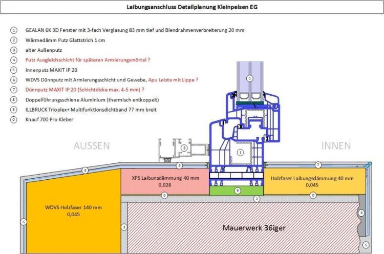 Turbo Laibungsdämmung Detailplanung, Putzanschlüsse VQ56
