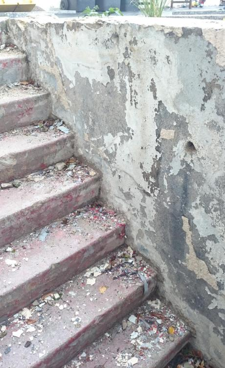Relativ Erberührte Wand an Kellertreppe außen sanieren QD68