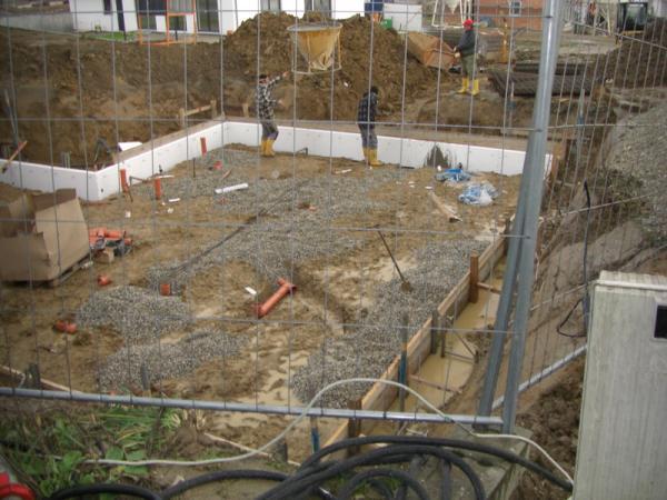 Entwasserungsleitungen Und Aufbau Unter Der Bodenplatte