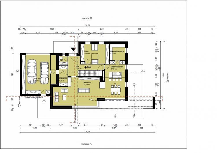 Entwurf Grundriss freistehendes EFH mit Staffelgeschoss ...