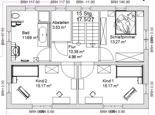 Treppenhaus grundriss maße  Grundriss EFH 2+Dach 11 x 8 m