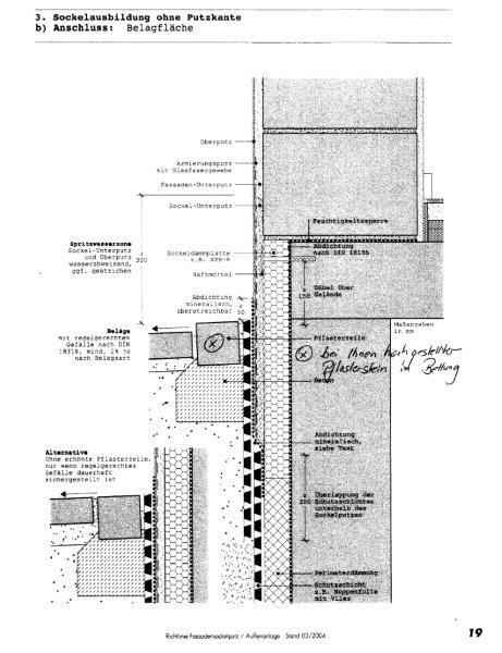 Dehnungsfuge Beton pflastersteine in betonbett an hauswand