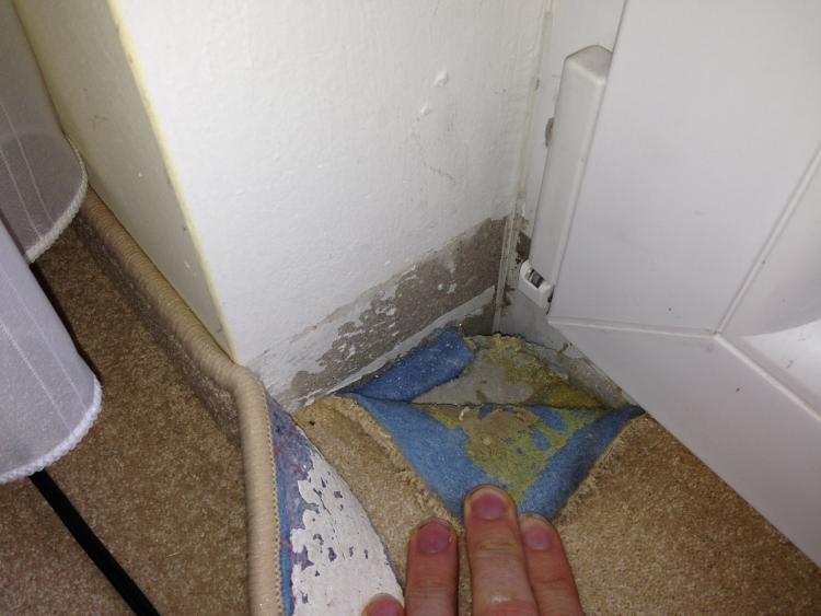 Feuchte Wand in Fensternische