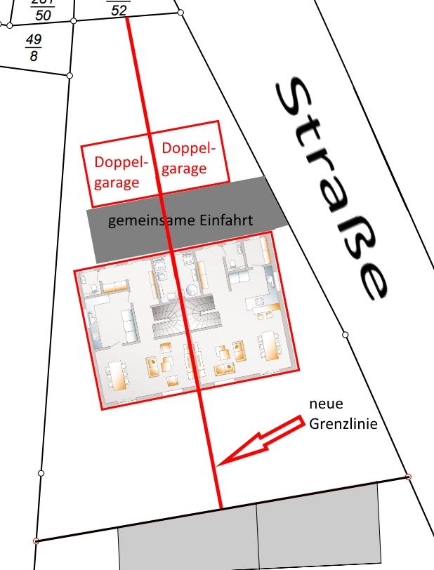 Favorit Grundstück teilen wenn Haus 1 Bodenplatte und gemeinsame Heizung PS88