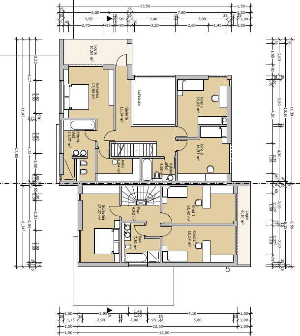 Doppelhaus Grundriss ca. 200qm + 130qm - Was meint Ihr?