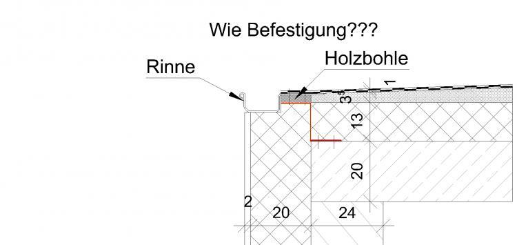 Entwässerungsrinne detail  Entwässerungsrinne Logia - wie in Dämmungsebene befestigen?
