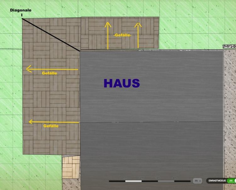 Terrasse Ums Eck Gefälle : Terrasse mit Platten u00fcber Eck (L Form) wie Gef u00e4lle