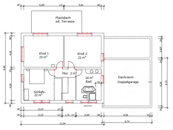 Hervorragend Grundrissplanung (2 Vollgeschosse ohne Keller, 22° Satteldach, mit WM22