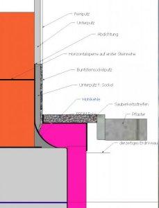 Sockel Uberstehende Bodenplatte Dammung Und Anschluss Pflaster Bzw