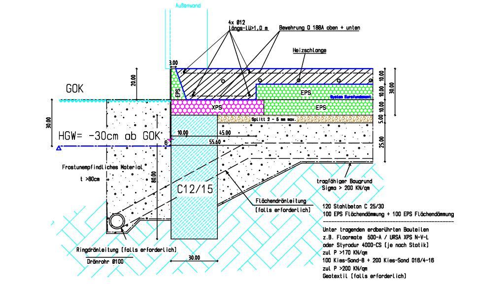 Beliebt Dämmung unter Bodenplatte bei Streifenfundament DW99